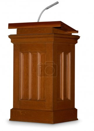 Photo for Oak podium isolated on white background with microphone - Royalty Free Image