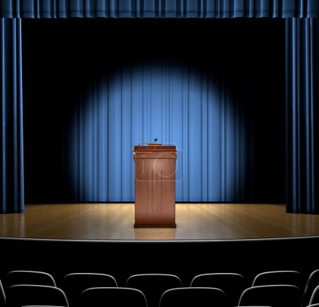 Photo for A podium in a spot light on stage. - Royalty Free Image