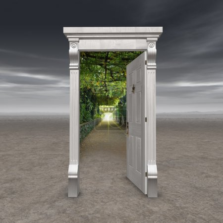 Photo pour Portail vers une autre dimension, représentée par une porte au milieu d'un désert stérile, ouvrant sur une allée de jardin avec une lumière au bout - image libre de droit
