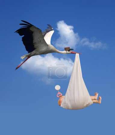 Photo for Classic depiction of a stork in flight delivering a newborn baby - Royalty Free Image