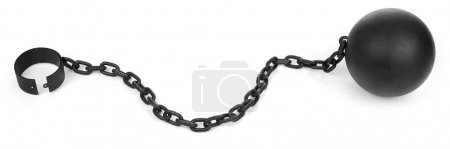 Photo for Iron ball with chain and shackle on white - Royalty Free Image