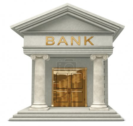 Photo for Iconic 3D caricatyure model of a bank isolated on a white background - Royalty Free Image