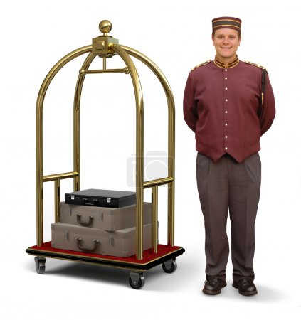 Bellhop with Luggage Cart