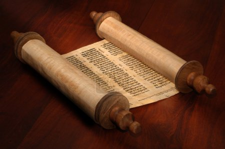 Photo for Ancient scrolls of papyrus paper with Hebrew text - Royalty Free Image