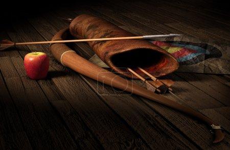 Vintage archery paraphernalia symbolizing targetgi...