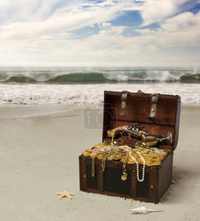 Photo for Treasure chest on the beach of the island - Royalty Free Image