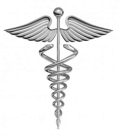 Caduceus Medical Symbol chrome