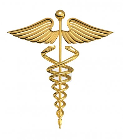 Photo for A Caduceus over a white background - Royalty Free Image
