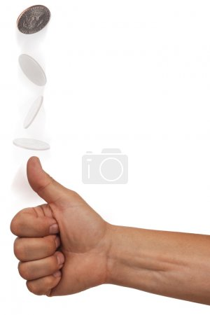 Photo for Hand flipping a coin with multiple exposures on white background - Royalty Free Image