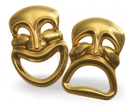 Photo for A 3d rendering of the classic comedy-tragedy theater masks isolated on white with a clipping path - Royalty Free Image