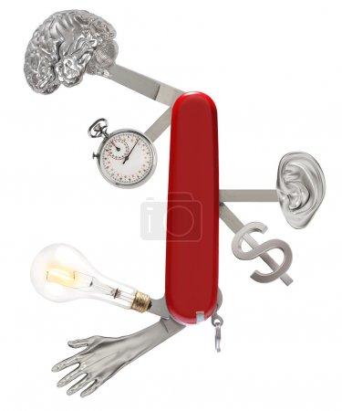 Photo pour Couteau suisse avec un cerveau, chronomètre, ampoule, main, oreille et signe d'argent - image libre de droit