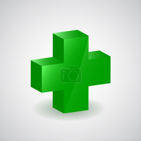 Illustration for Pharmacy symbol - green cross on white - Royalty Free Image