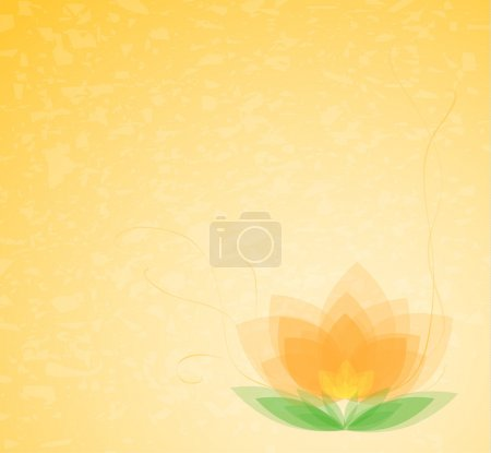 Illustration for Vector background - beautiful flower on orange gradient - Royalty Free Image