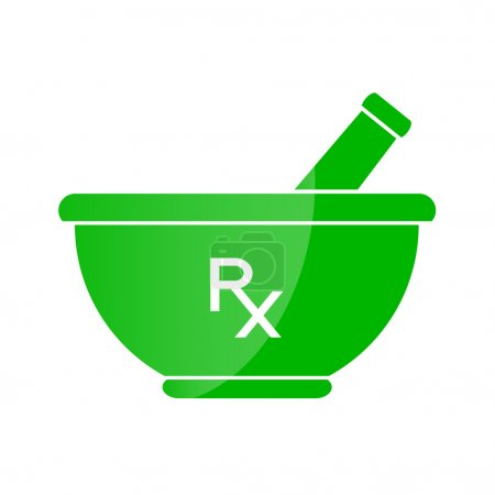 Illustration for Pharmacy symbol - mortar and pestle in green color - Royalty Free Image