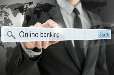 Online banking written in search bar