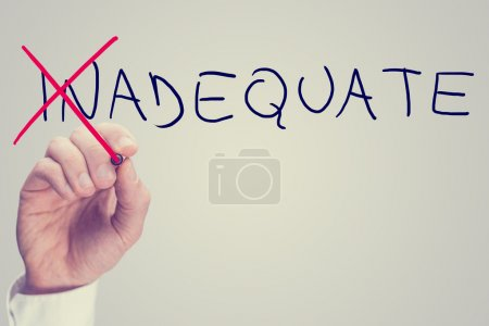 Concept of Inadequate versus Adequate with a busin...