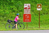 Female Bicyclist On Blue Ridge Parkway