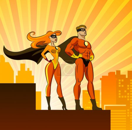 Illustration for Super Heroes - Male and Female. Vector illustration isolated on a white background - Royalty Free Image