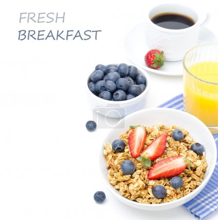 Photo for Breakfast with homemade granola and fresh berries, orange juice and black coffee isolated on a white background - Royalty Free Image