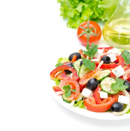 Photo for Greek salad with feta cheese, olives and vegetables isolated on a white background with sample text - Royalty Free Image