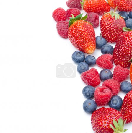 Photo for Assorted fresh berries isolated on a white background - Royalty Free Image