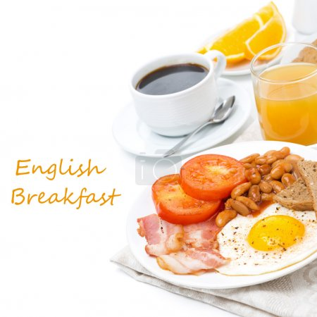 Photo for Traditional English breakfast with fried eggs, bacon, beans, coffee and juice, isolated on white - Royalty Free Image