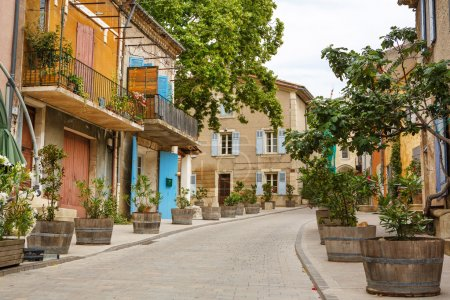 Photo for Provencal street with typical houses in southern France, Provence - Royalty Free Image