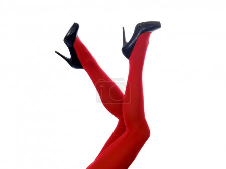 Woman's Legs in Red Tights