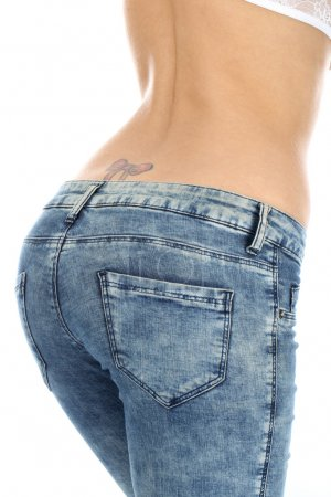 Young Woman Wearing Tight Denim Jeans