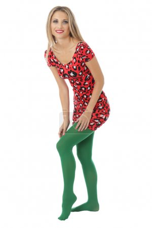 Sexy young Woman Wearing a Short Mini Dress and Green Tights