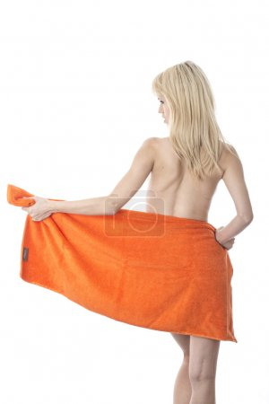 Young Woman Drying with a Towel