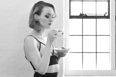 Vintage Pin Up Model Drinking Tea