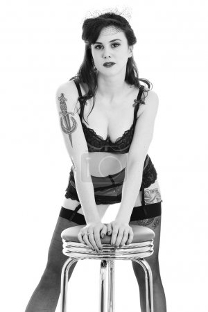 Young Pin Up Model Wearing Vintage Lingerie