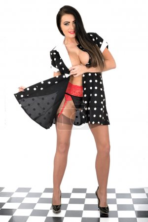 Attractive Topless Pin Up Model Sexy Polka Dot Dress