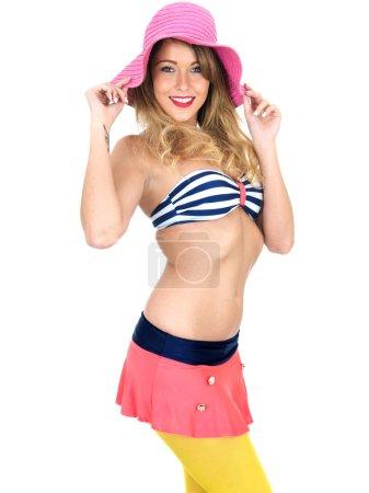 Sexy Young Pin Up Model Wearing Vintage Bikini