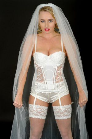 Sexy Young Wedding Bride in White Lingerie