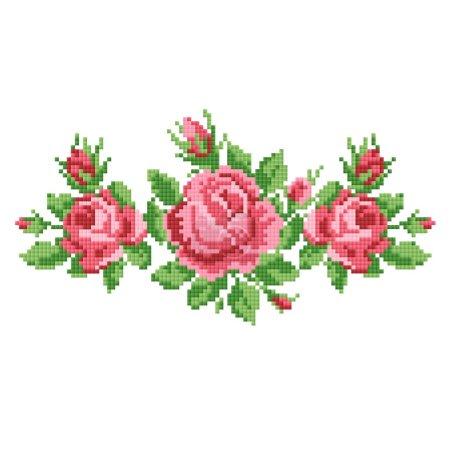 Illustration pour Bouquet de roses, broder - image libre de droit