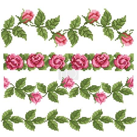 Illustration pour Elément décoratif floral, broderie - image libre de droit