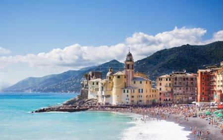 view of the coast of Camogli in Liguria