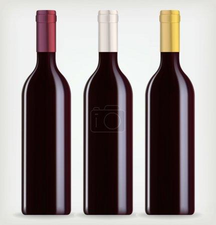 Illustration pour Trois bouteilles de vin sur fond blanc - image libre de droit