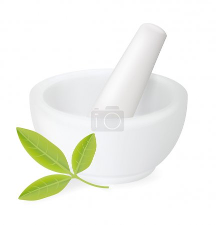 Healing herbs in white ceramic mortar