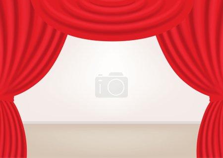 Illustration pour Scène avec rideaux ouverts. Vecteur - image libre de droit