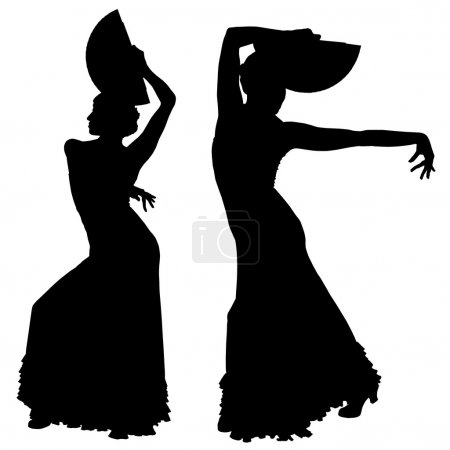 Illustration for Two black silhouettes of female flamenco dancer on the white background for your design - Royalty Free Image