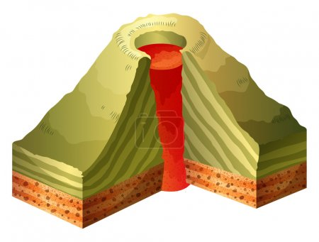 A cross-section of the volcano