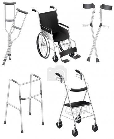 Krücken und Rollstühle