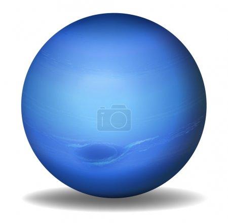 Illustration of planet Neptune on a white backgrou...