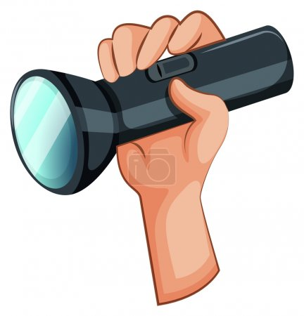 A hand with a flashlight