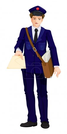 Illustration of a postman on a white background...