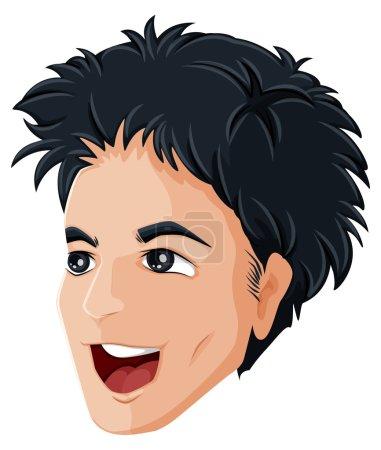 Illustration pour Illustration de la tête d'un homme heureux sur fond blanc - image libre de droit