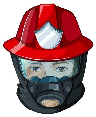 Illustration pour Illustration d'une tête de pompier sur fond blanc - image libre de droit